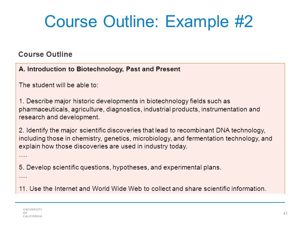 Course Outline: Example #2