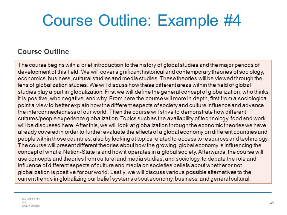 Course Outline: Example #4