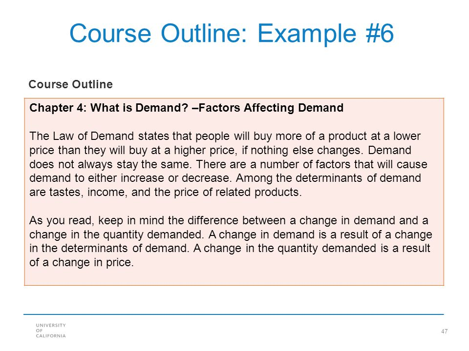 Course Outline: Example #6
