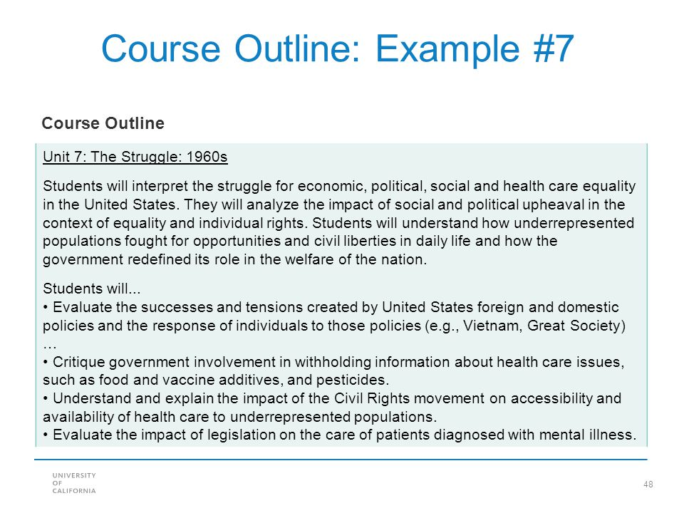 Course Outline: Example #7