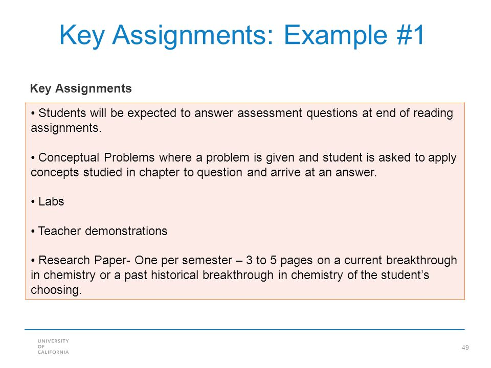 Key Assignments: Example #1