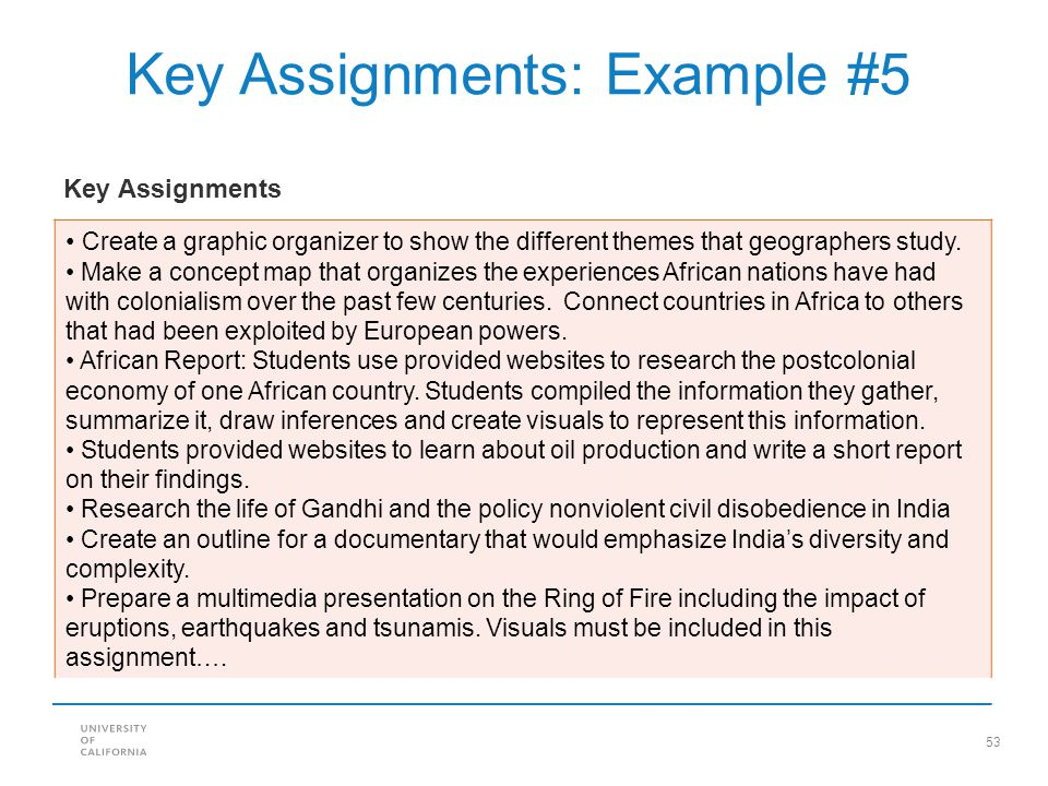 Key Assignments: Example #5