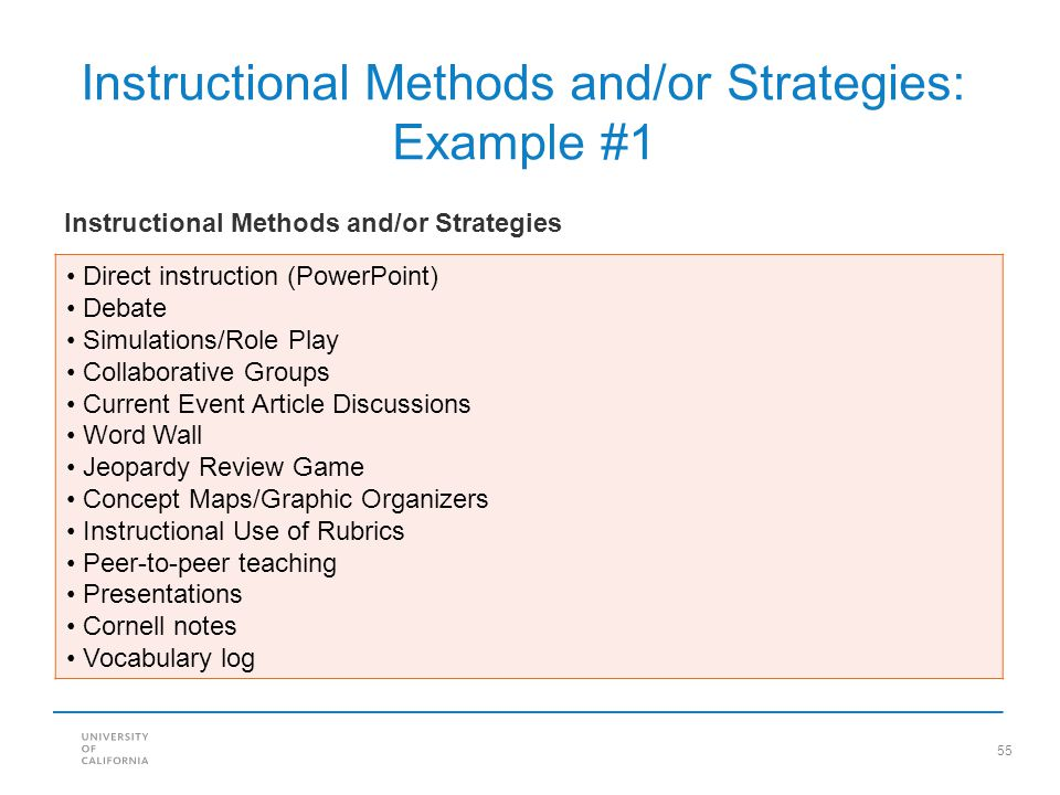 Instructional Methods and/or Strategies: Example #1