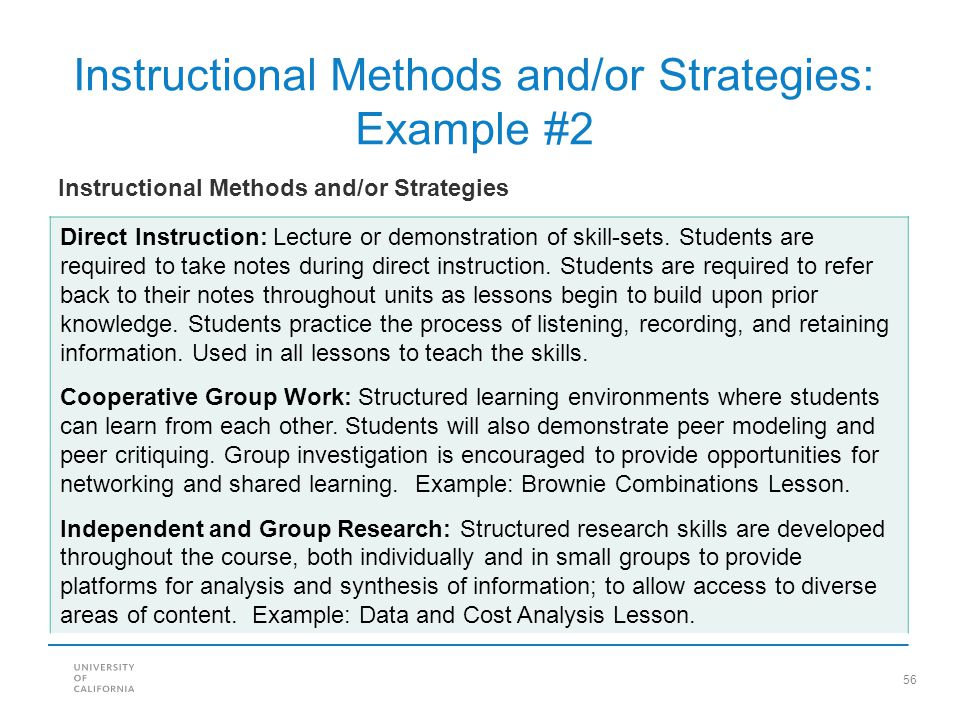 Instructional Methods and/or Strategies: Example #2