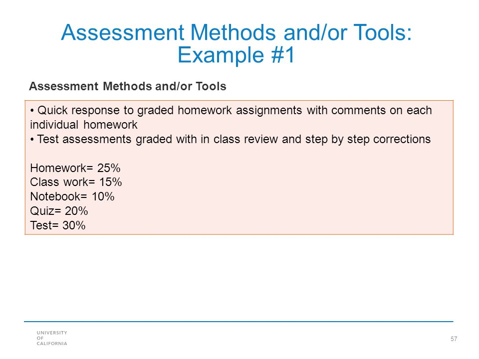 Assessment Methods and/or Tools: Example #1