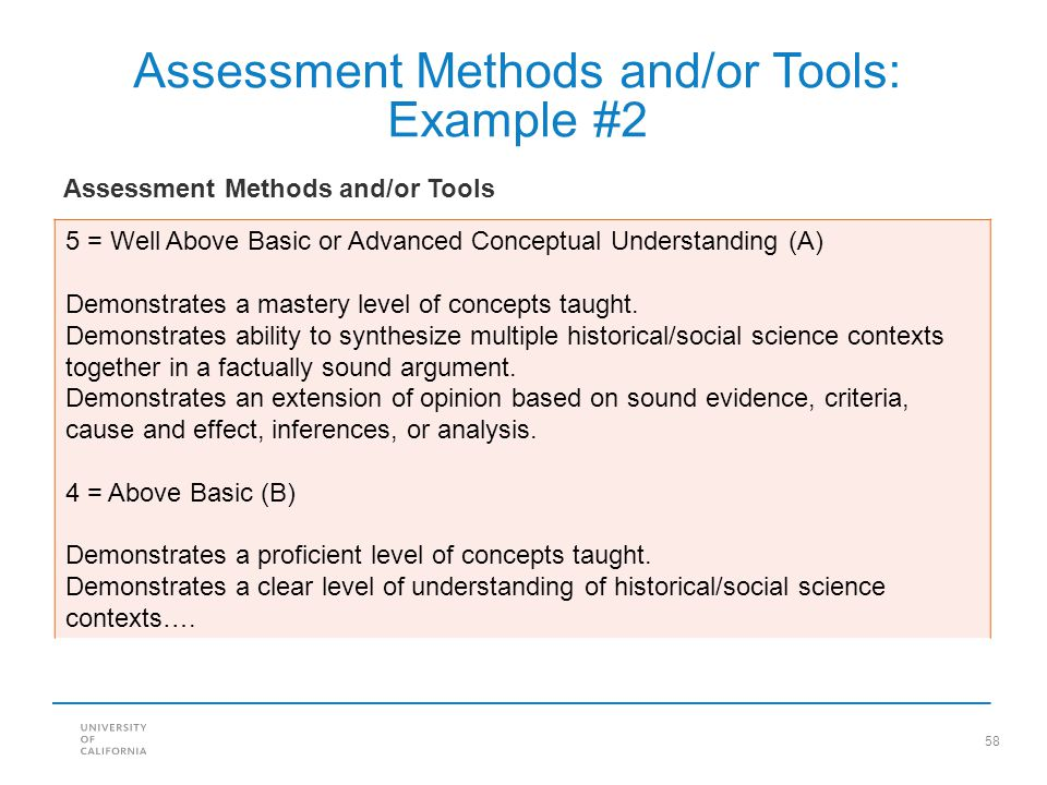 Assessment Methods and/or Tools: Example #2