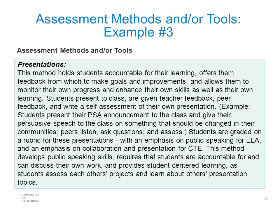 Assessment Methods and/or Tools: Example #3