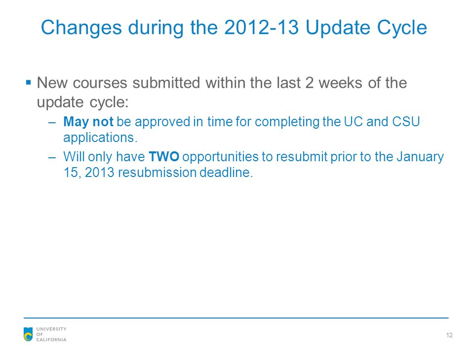 Changes during the 2012-13 Update Cycle