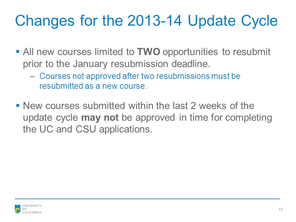 Changes for the 2013-14 Update Cycle
