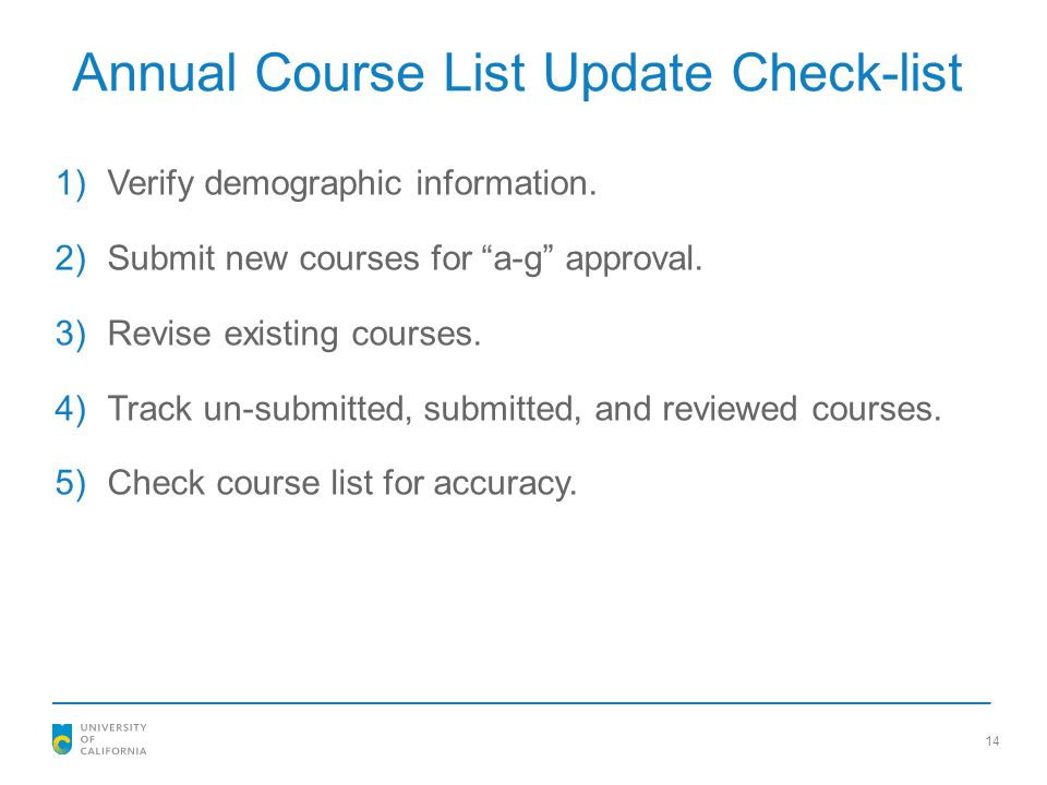 Annual Course List Update Check-list