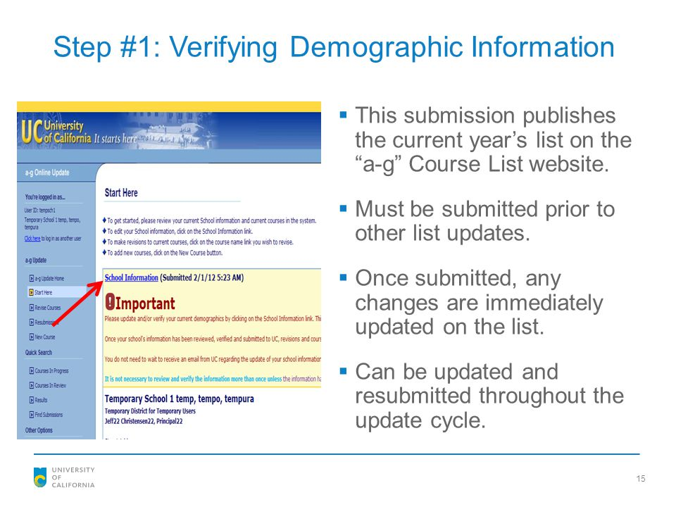 Step #1: Verifying Demographic Information