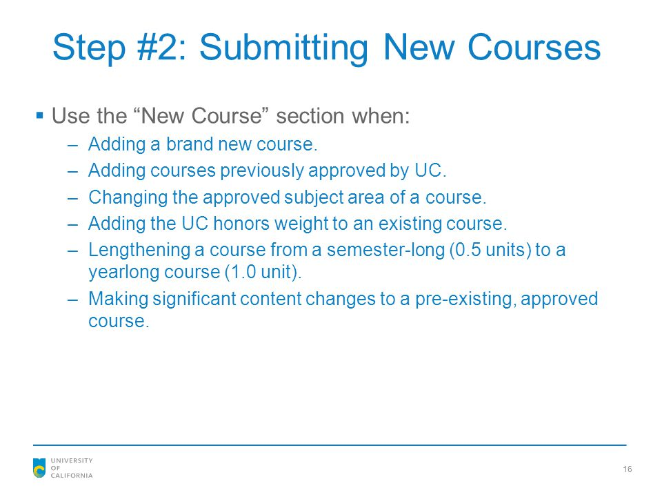 Step #2: Submitting New Courses