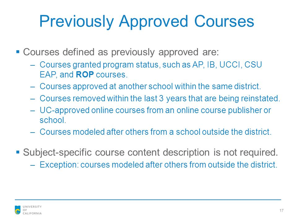 Previously Approved Courses