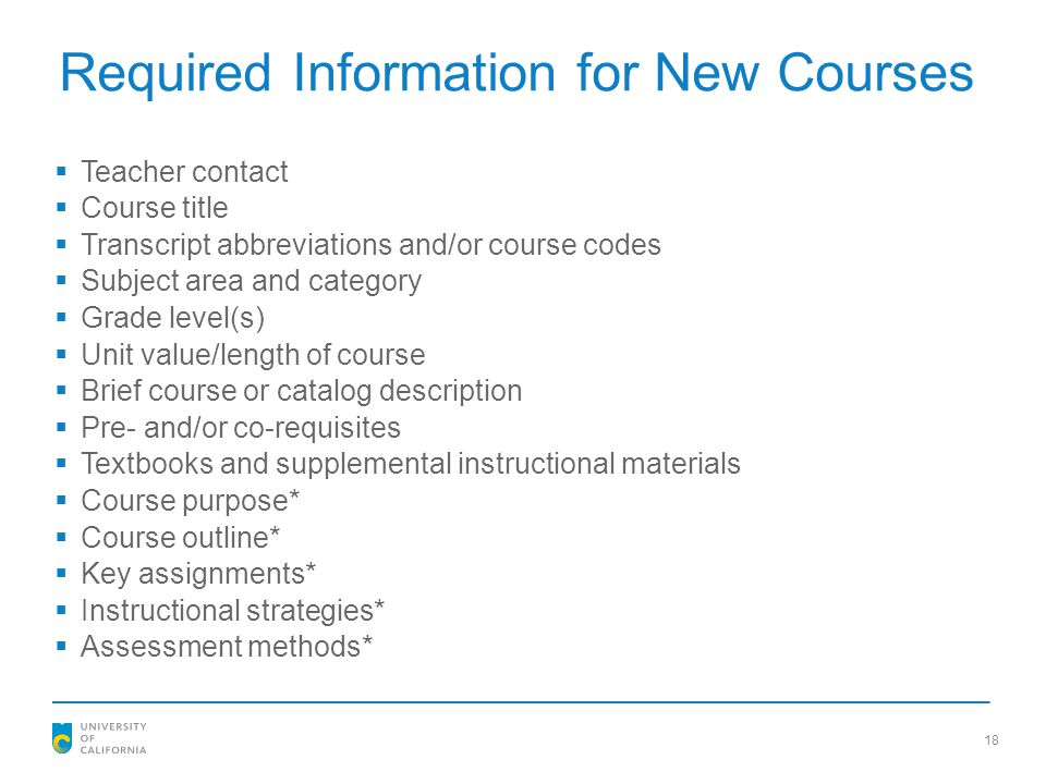 Required Information for New Courses