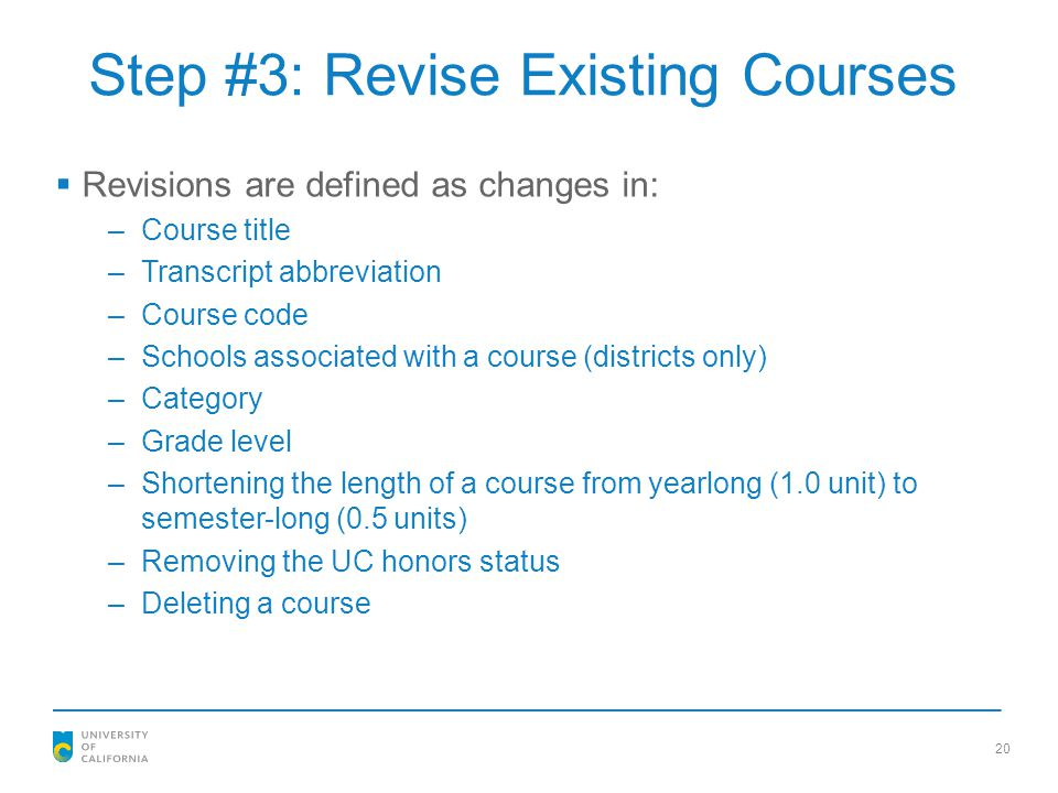 Step #3: Revise Existing Courses