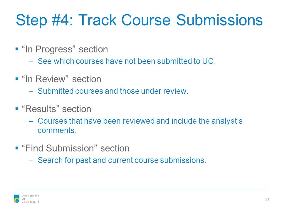 Step #4: Track Course Submissions