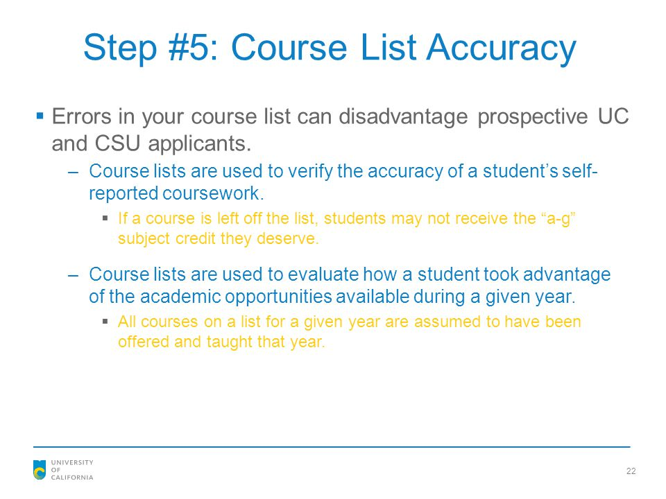 Step #5: Course List Accuracy