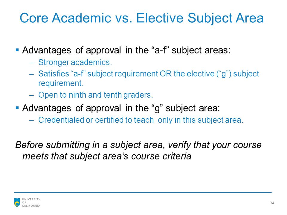 Core Academic vs. Elective Subject Area