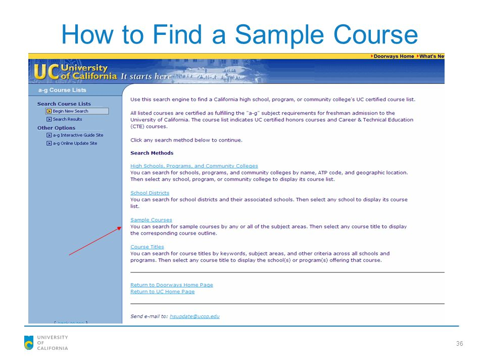 How to Find a Sample Course