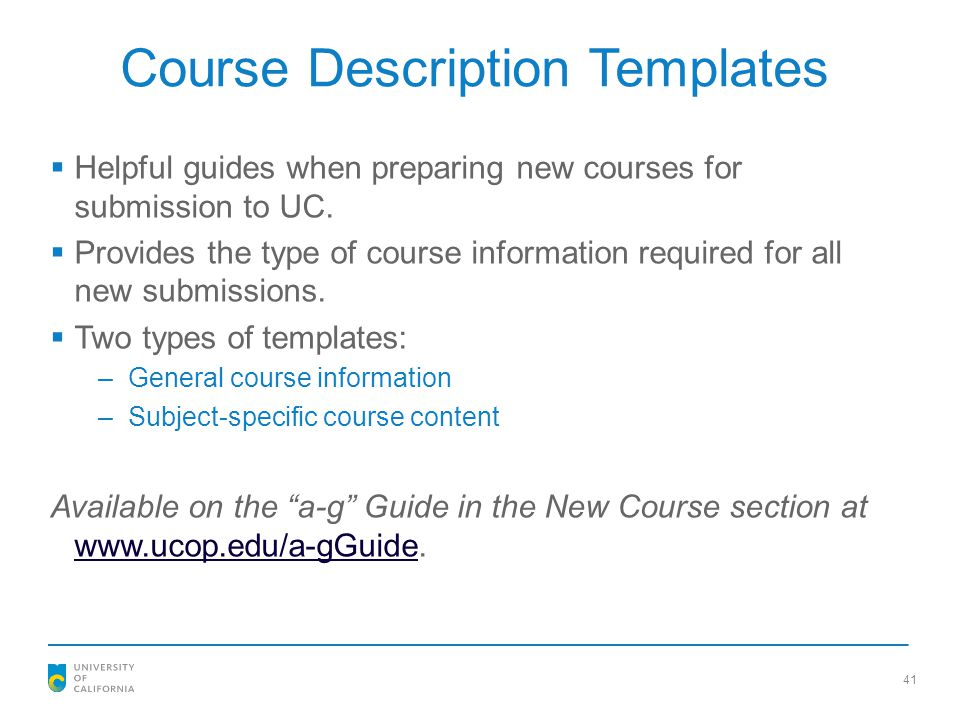 Course Description Templates