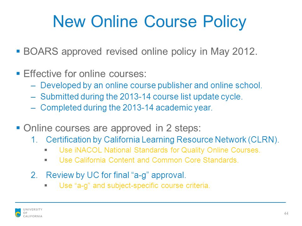 New Online Course Policy