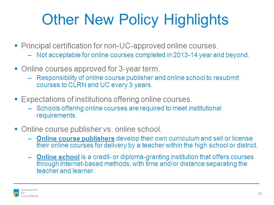 Other New Policy Highlights