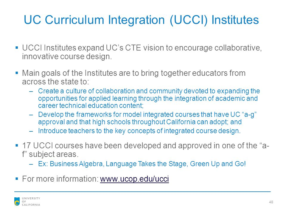 UC Curriculum Integration (UCCI) Institutes