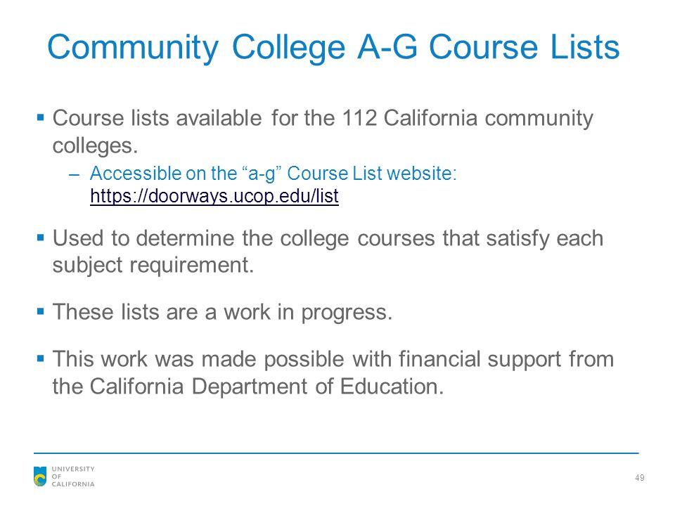 Community College A-G Course Lists