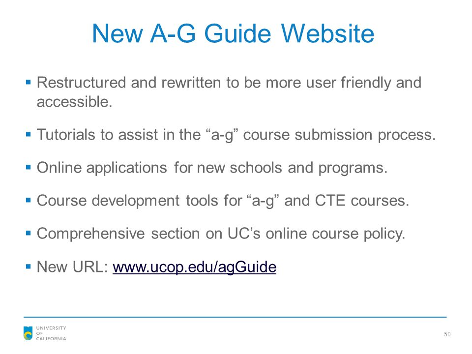 New A-G Guide Website Restructured and rewritten to be more user friendly and accessible.