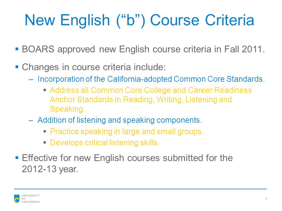 New English ( b ) Course Criteria