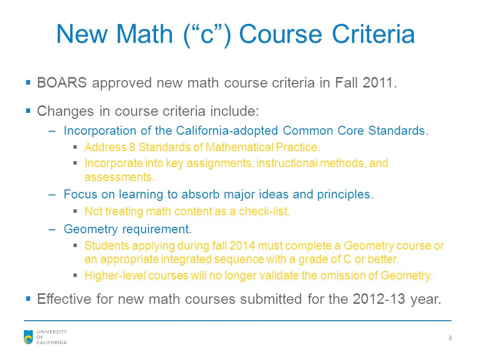 New Math ( c ) Course Criteria