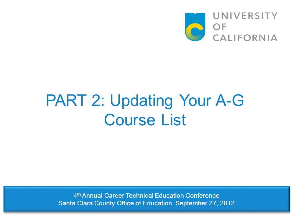PART 2: Updating Your A-G Course List