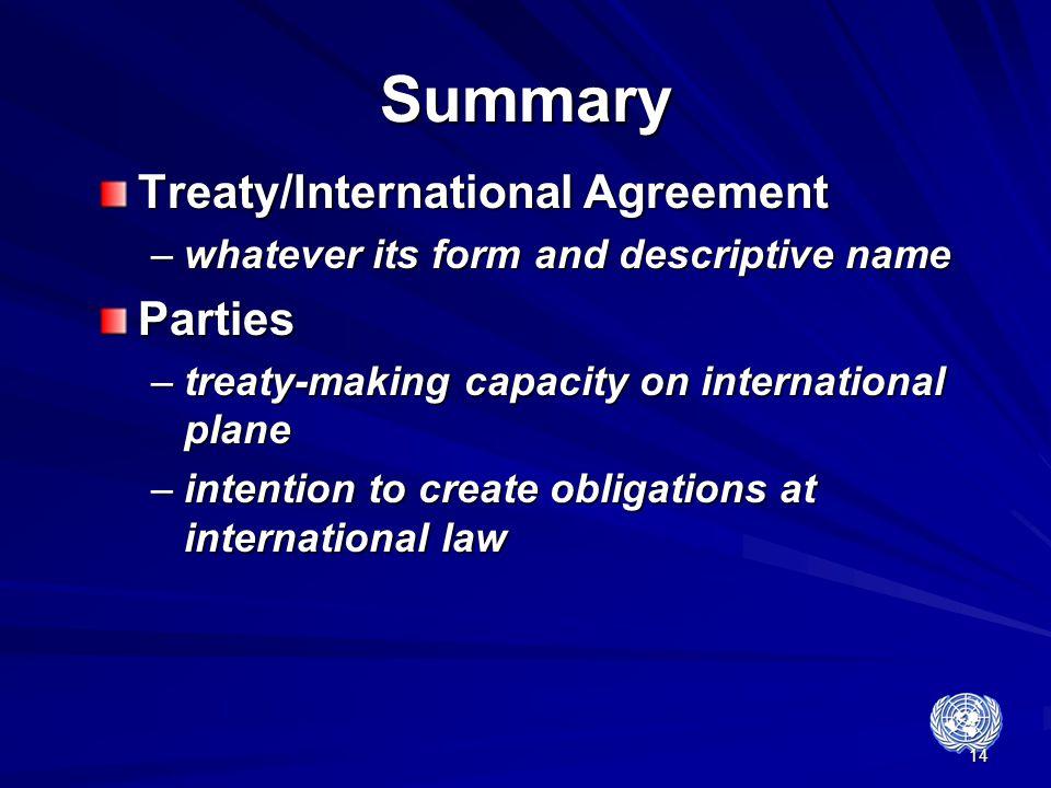 Summary Treaty/International Agreement Parties