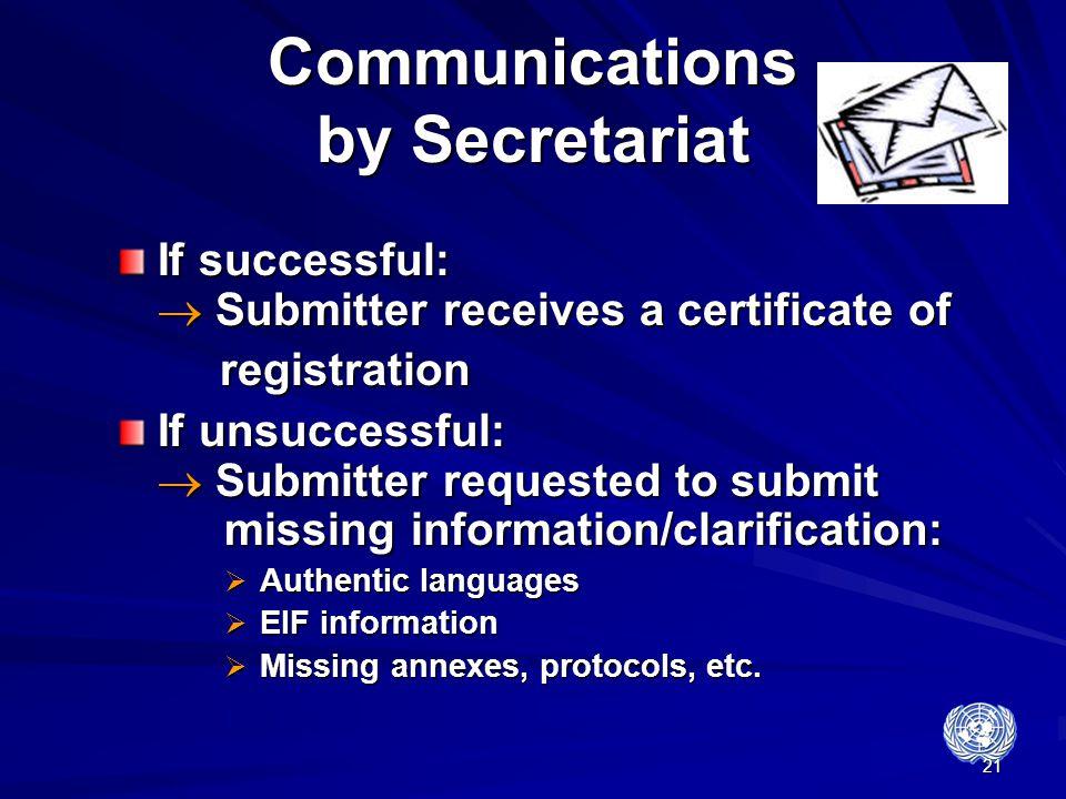 Communications by Secretariat