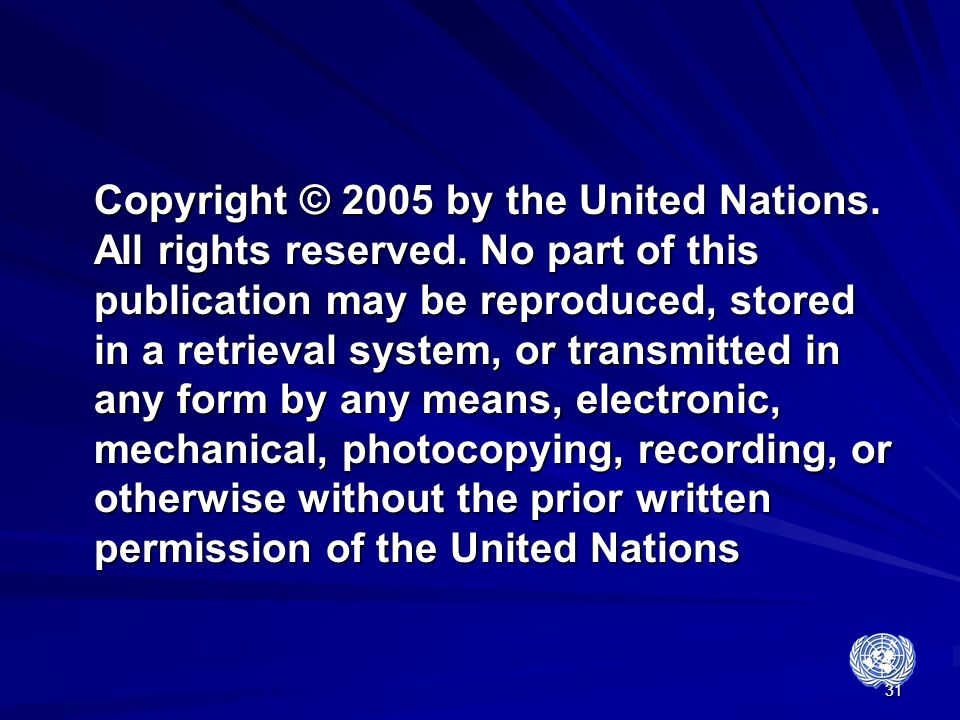 Copyright © 2005 by the United Nations. All rights reserved