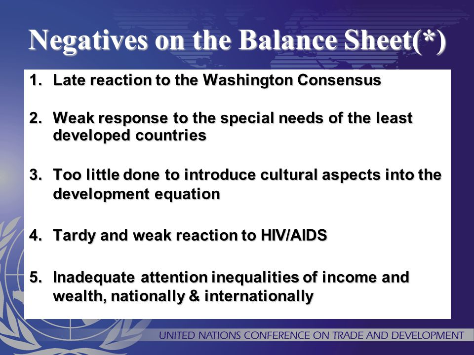 Negatives on the Balance Sheet(*)
