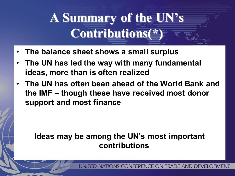 A Summary of the UN's Contributions(*)
