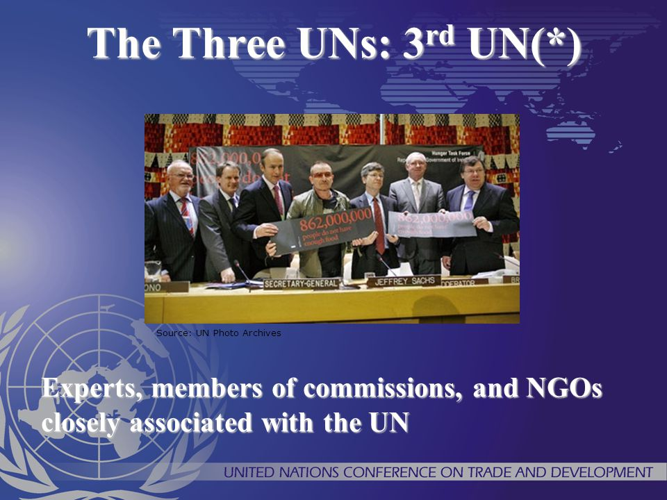 The Three UNs: 3rd UN(*) Source: UN Photo Archives.