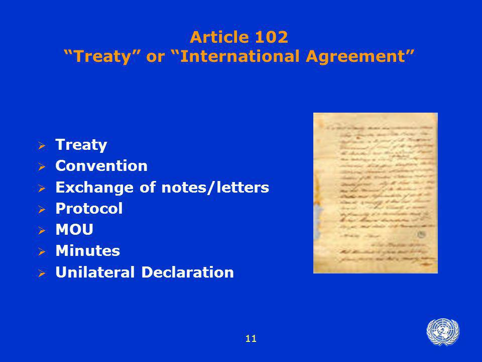Treaty or International Agreement