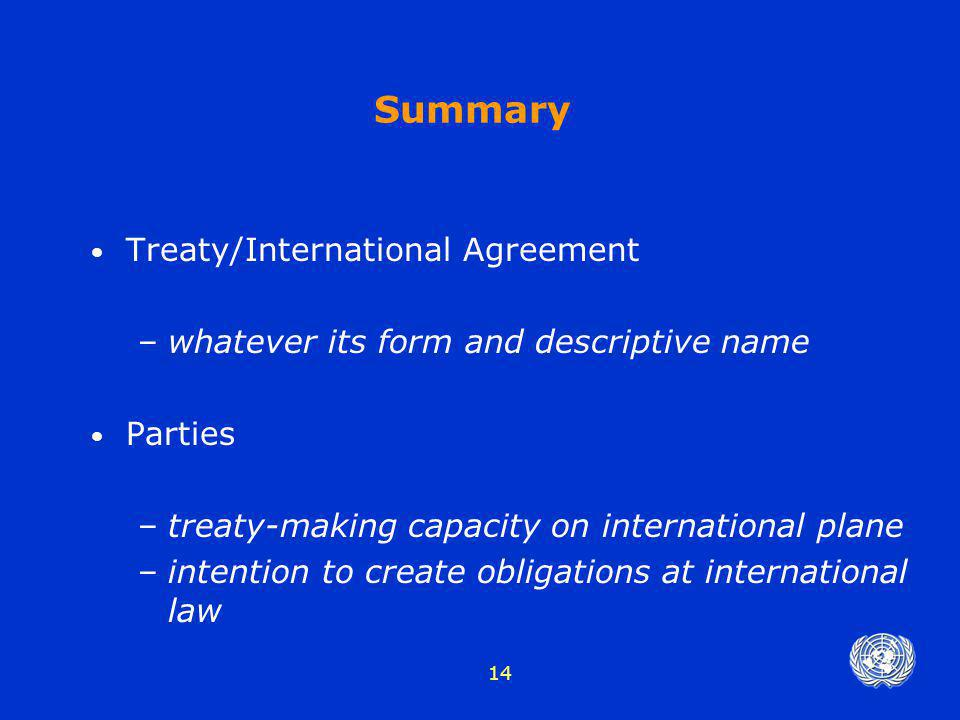 Summary Treaty/International Agreement