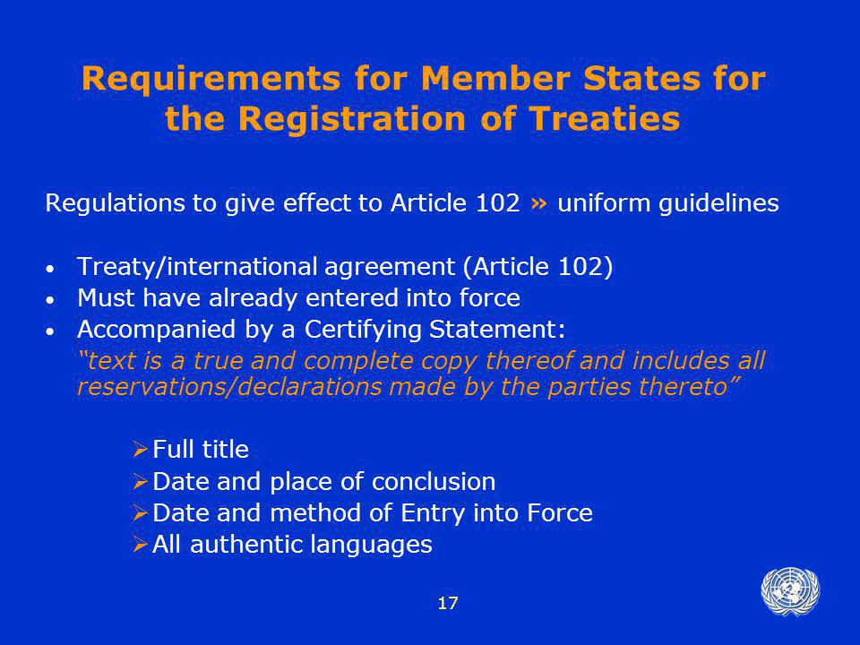 Requirements for Member States for the Registration of Treaties
