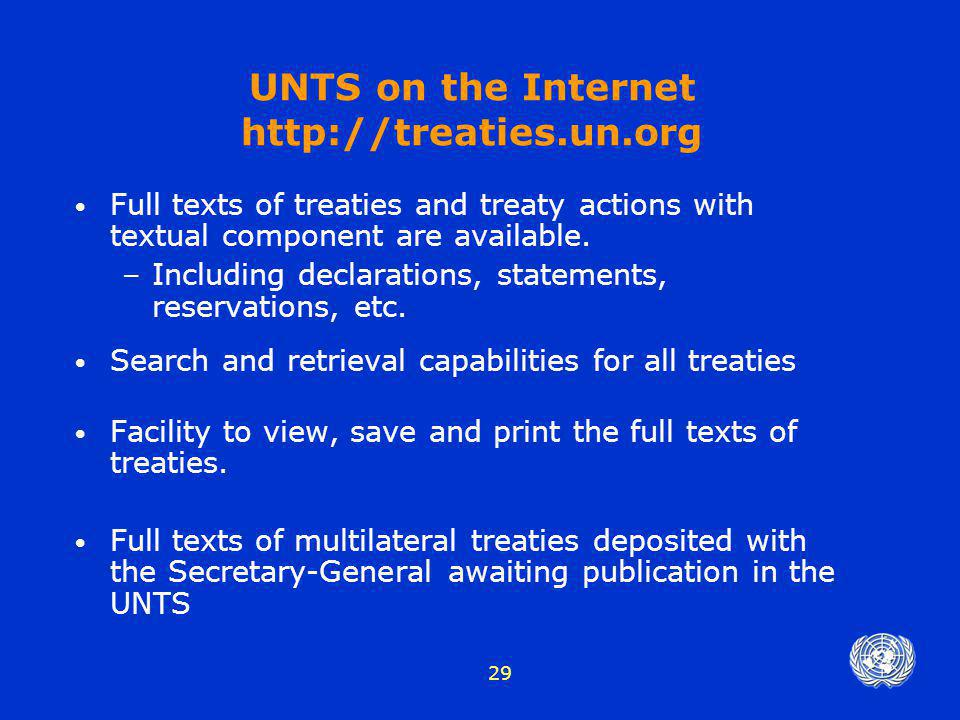 UNTS on the Internet http://treaties.un.org