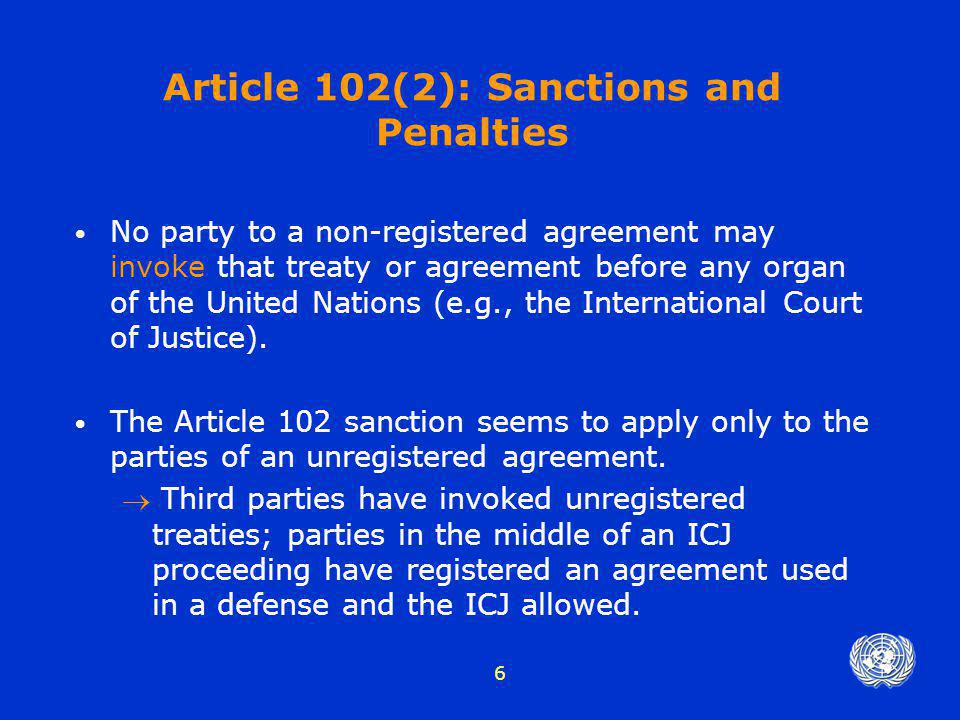 Article 102(2): Sanctions and Penalties
