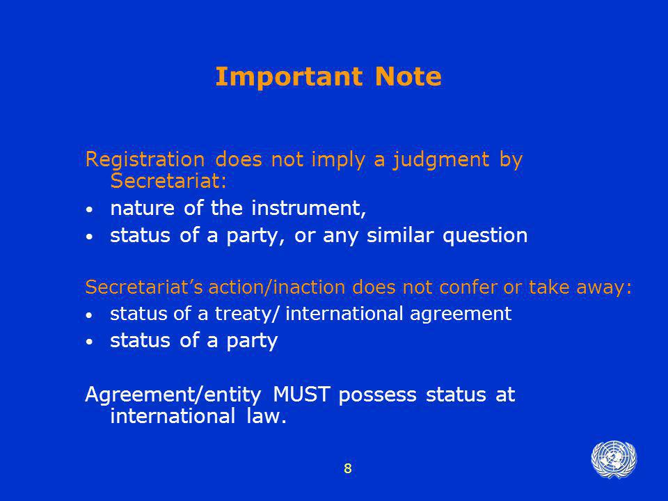 Important Note Registration does not imply a judgment by Secretariat:
