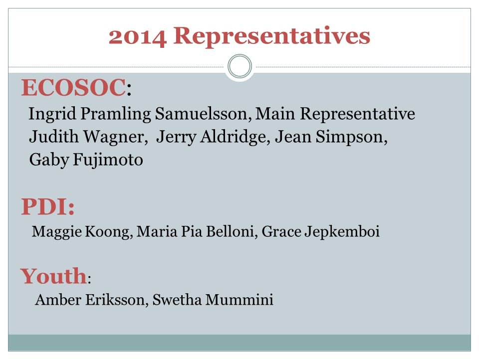 2014 Representatives ECOSOC: PDI: Youth: