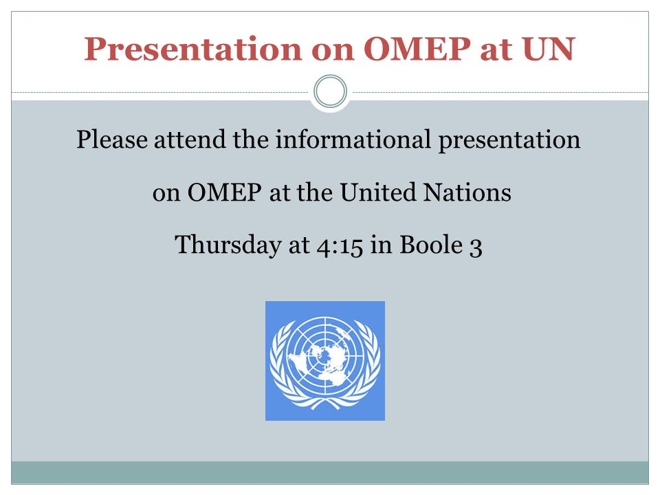 Presentation on OMEP at UN