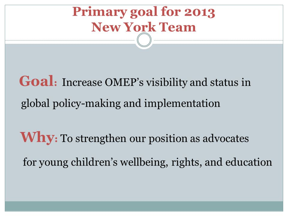 Primary goal for 2013 New York Team