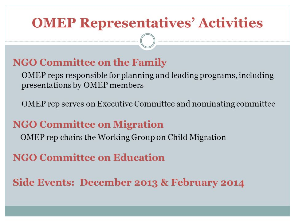 OMEP Representatives' Activities