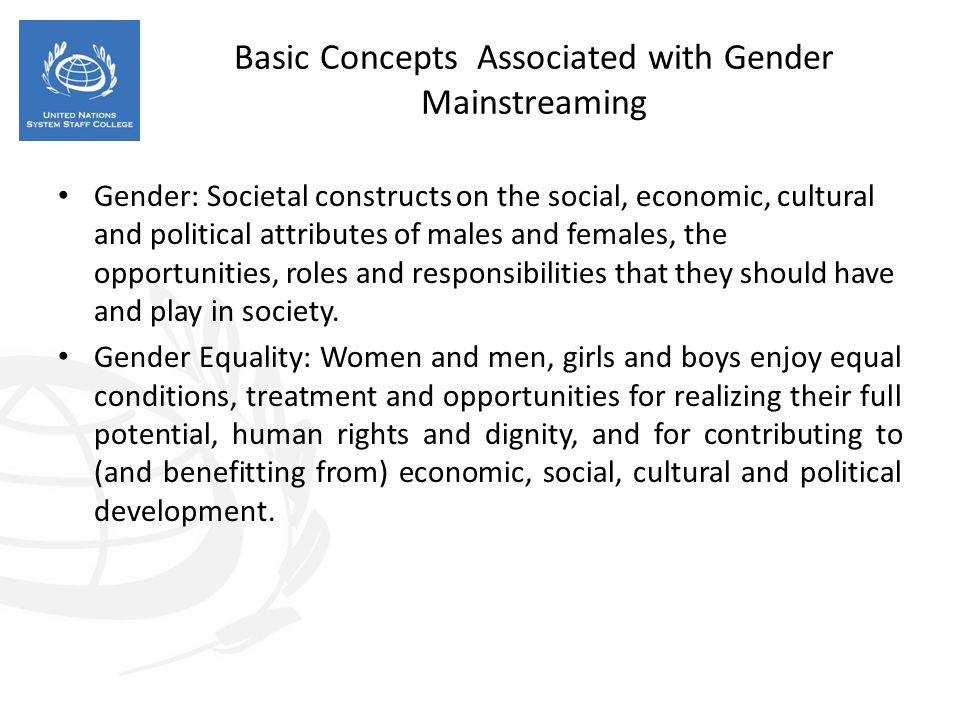 Basic Concepts Associated with Gender Mainstreaming