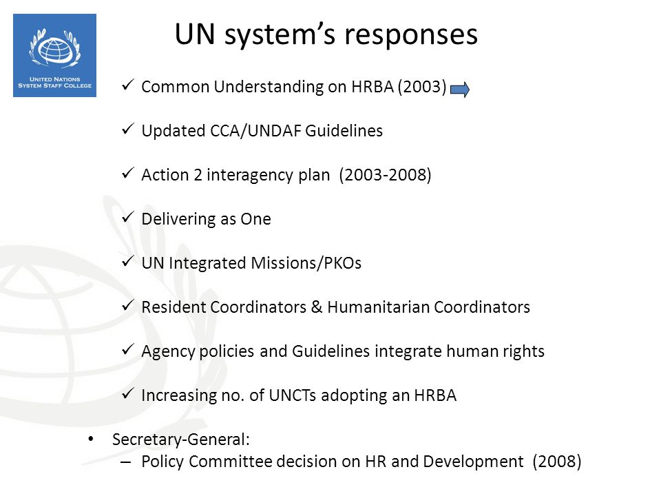 UN system's responses Common Understanding on HRBA (2003)